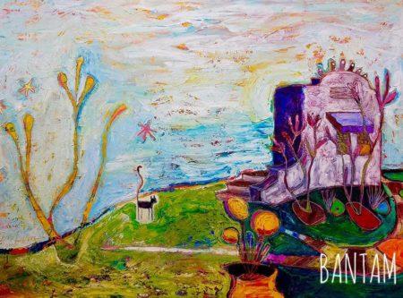 Black Cat in the Cactus Garden original oil painting by Wendy Bantam