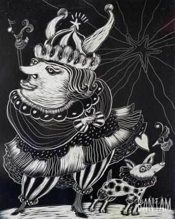 The Opera Singer Takes a Break - etching by Wendy Bantam