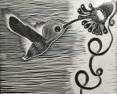 Tiny Hummingbird etching by Wendy Bantam