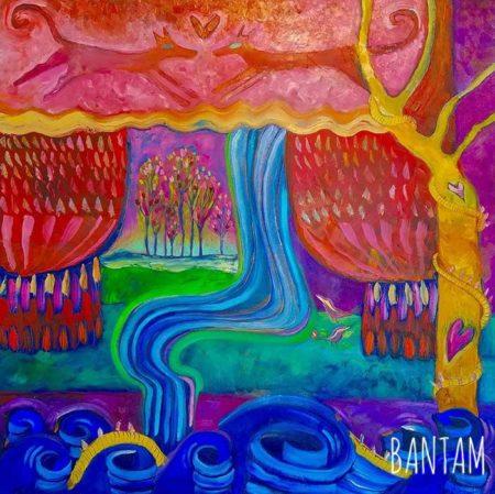 Blue Waterfall Beneath the Orange Tree original oil painting by Wendy Bantam