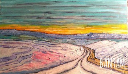 The Snowy Road to Pine Ridge original oil painting by Wendy Jane Bantam