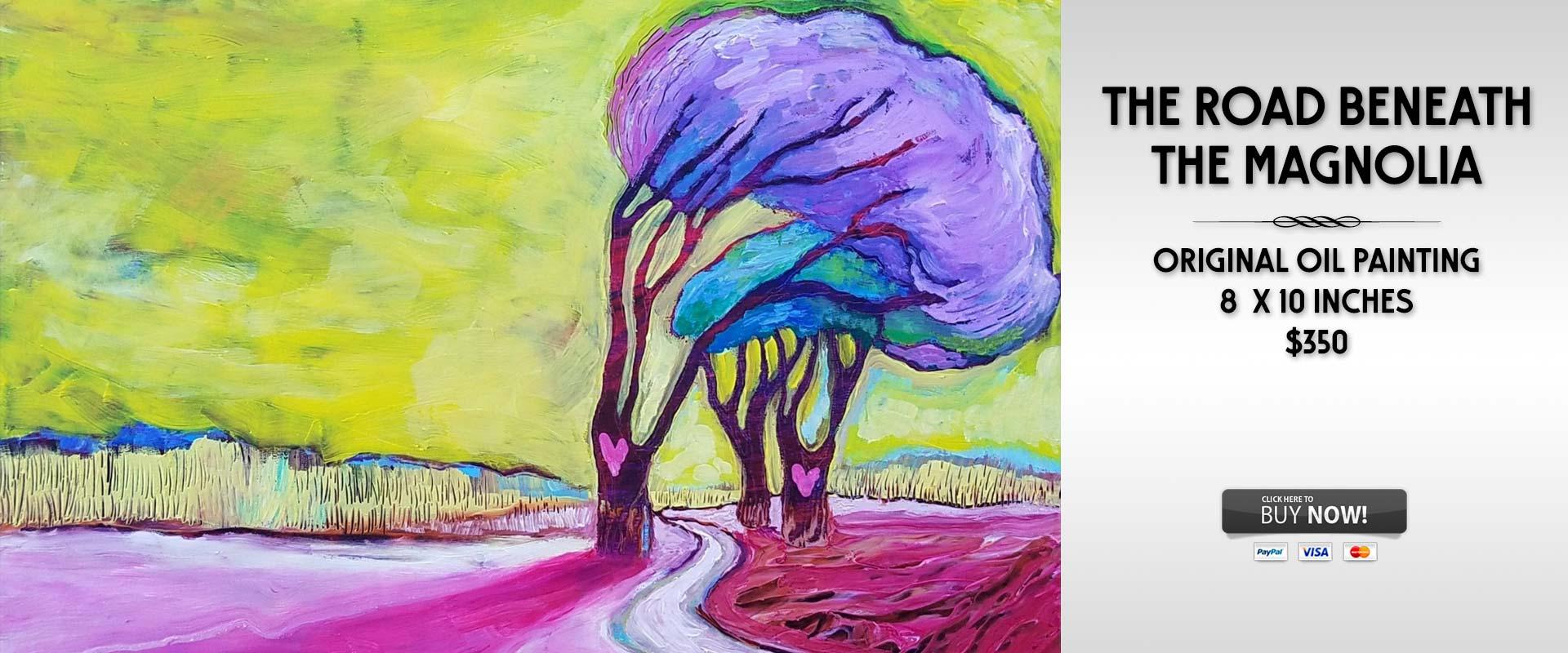 The Road Beneath the Magnolia original oil painting